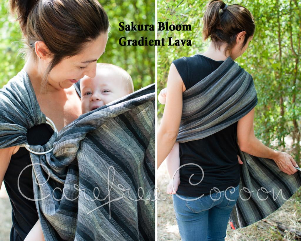 Carefree Cocoon Sakura Bloom Gradient Lava linen ring sling 01