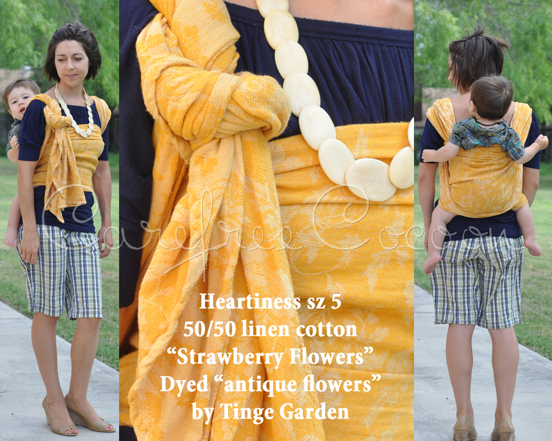 Carefree Cocoon Heartiness Strawberry Flowers woven wrap DYED yellow by Tinge Garden 01