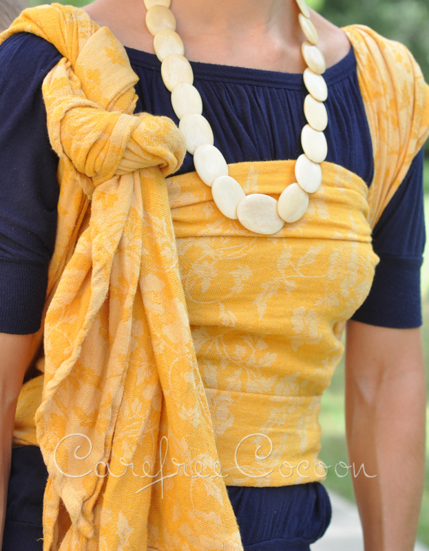 Heartiness Strawberry Flowers woven wrap DYED yellow by Tinge Garden 09