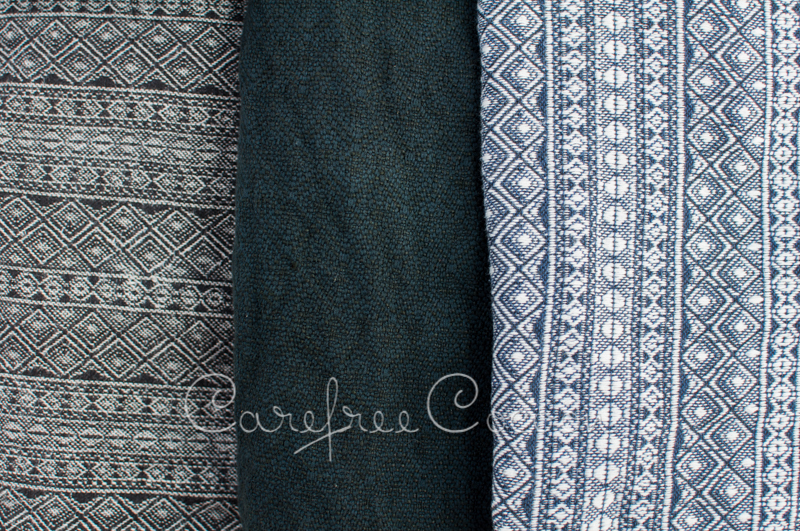 Didymos Anthracite Hemp Indio, Sunset 55 Dyed Black, Dark Blue and White Indio