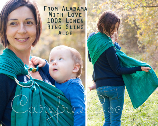 From Alabama With Love aloe teal linen ring sling Carefree Cocoon 01
