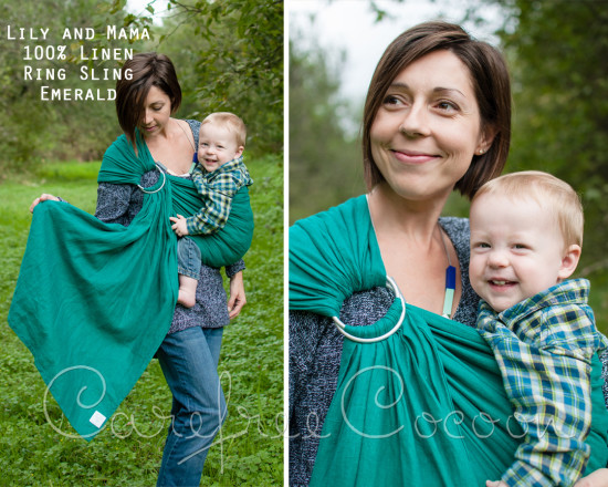 Lily and Mama emerald linen ring sling Carefree Cocoon 01