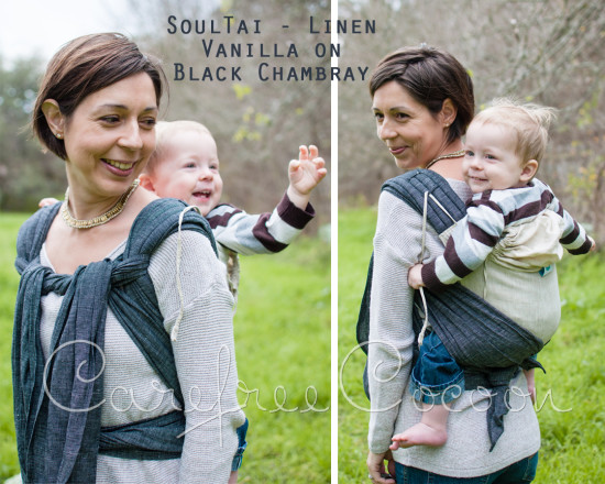 Soul Slings Soul Tai Linen Mei Tai Vanilla Black Chambray Carefree Cocoon 01