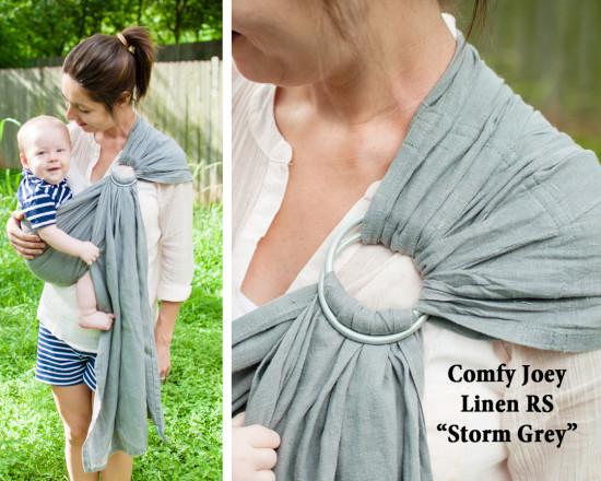 Comfy Joey Storm Grey Gray linen ring sling 01